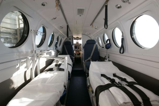 Inside an RFDS Beechcraft King Air B200 aircraft QLD